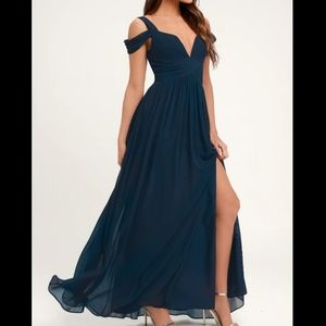 Lulus Ocean of Elegance Navy Blue Maxi Dress